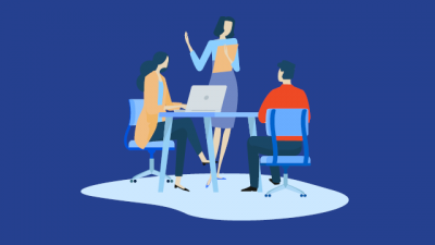 Graphic of 3 people, 2 sitting at a desk 1 standing in front.