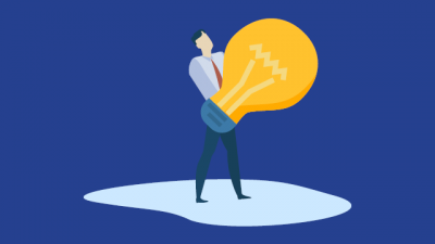 Graphic of person holding a giant lightbulb